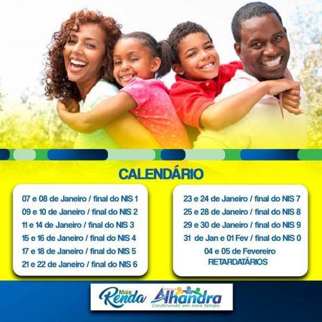 """Prefeitura de Alhandra divulga calendário para inscrições no programa social """"Mais Renda"""""""