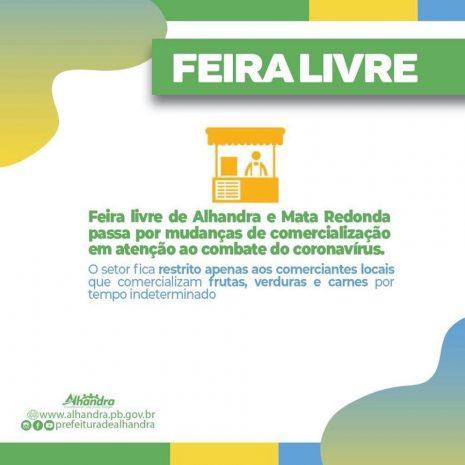 Para evitar contaminação pelo Covid-19, feiras livres de Alhandra e Mata Redonda só terão produtos de comerciantes da cidade