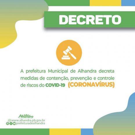 Coronavírus: Prefeitura de Alhandra determina fechamento de bares, restaurantes, casas de festas e demais estabelecimentos