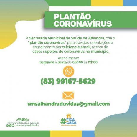 """Prefeitura de Alhandra cria """"Plantão Coronavírus"""" para orientar população sobre casos suspeitos"""