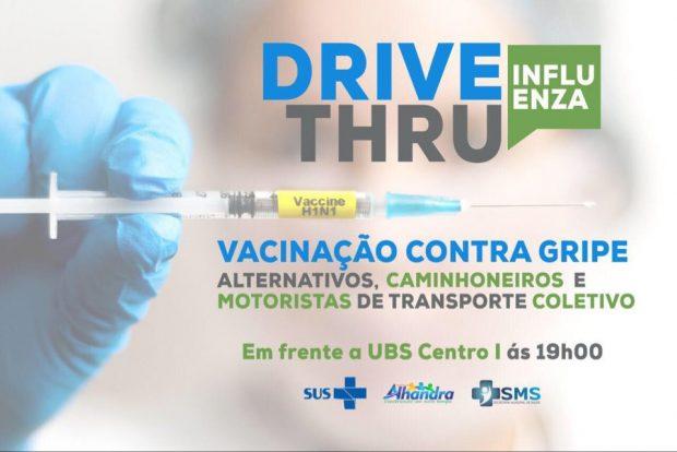 """Saúde de Alhandra promove vacinação contra a influenza para caminhoneiros e motoristas em sistema """"drive thru"""""""